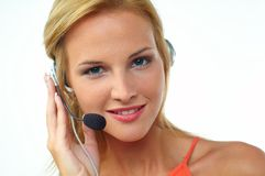Women with headset Royalty Free Stock Photos