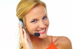 Women with headset Royalty Free Stock Images