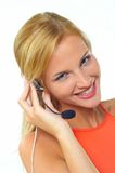Women with headset Stock Image