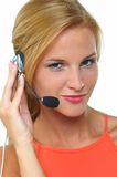 Women with headset royalty free stock photo