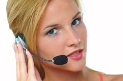 Women with headset stock photo