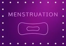 Women health concept vector illustration, text menstruation and a pad in neon stylization. Woman critical days, gynecological mens stock illustration