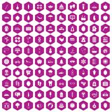 100 women health icons hexagon violet. 100 women health icons set in violet hexagon isolated vector illustration stock illustration