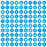 100 women health icons set blue. 100 women health icons set in blue hexagon isolated vector illustration stock illustration