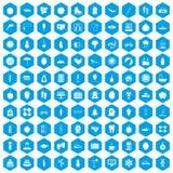 100 women health icons set blue. 100 women health icons set in blue hexagon isolated vector illustration Stock Illustration