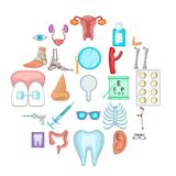 Women health icons set, cartoon style. Women health icons set. Cartoon set of 25 women health vector icons for web isolated on white background Royalty Free Stock Images