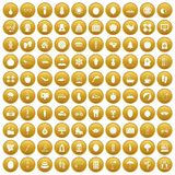 100 women health icons set gold. 100 women health icons set in gold circle isolated on white vector illustration Royalty Free Stock Photography