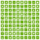 100 women health icons set grunge green. 100 women health icons set in grunge style green color isolated on white background vector illustration Stock Photography