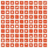 100 women health icons set grunge orange. 100 women health icons set in grunge style orange color isolated on white background vector illustration Stock Photo
