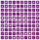 100 women health icons set grunge purple. 100 women health icons set in grunge style purple color isolated on white background vector illustration Royalty Free Illustration