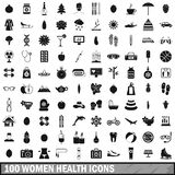 100 women health icons set, simple style. 100 women health icons set in simple style for any design vector illustration Royalty Free Stock Photo