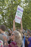 Women and Healthcare Sign at a Moral Monday rally in Asheville, Royalty Free Stock Images