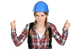 Women with helmet Royalty Free Stock Photography
