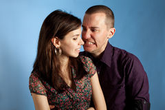 Women and her angry boyfriend Royalty Free Stock Images