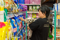 Women and her dog shop at pet shop Stock Image