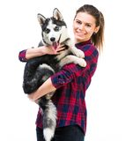Women with her puppy Husky Royalty Free Stock Photos