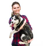 Women with her puppy Husky Royalty Free Stock Images