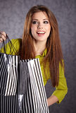 Women with her shopping bags (retro Stock Photo
