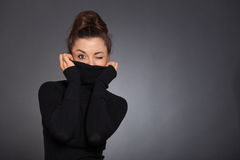 Women hiding her Face Stock Images