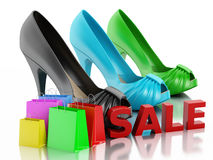 Women high heel shoes 3d. Sale concept Stock Image