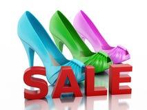 Women high heel shoes 3d. Sale concept Stock Photos