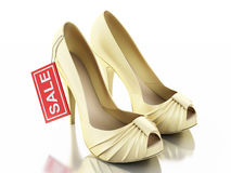 Women high heel shoes 3d. Sale concept Stock Photo