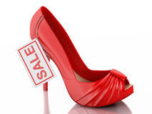 Women high heel shoes 3d. Sale concept Royalty Free Stock Photos
