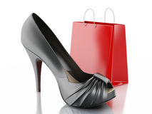 Women high heel shoes with Shopping bag 3d. 3d illustration. Women high heel shoes with Shopping bag. Consumerism Concept.  white background Royalty Free Stock Photo