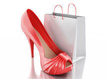 Women high heel shoes with Shopping bag 3d. 3d illustration. Women high heel shoes with Shopping bag. Consumerism Concept.  white background Royalty Free Stock Photography