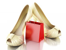 Women high heel shoes with Shopping bag 3d. 3d illustration. Women high heel shoes with Shopping bag. Consumerism Concept.  white background Stock Photos