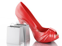 Women high heel shoes with Shopping bag 3d. 3d illustration. Women high heel shoes with Shopping bag. Consumerism Concept.  white background Stock Image