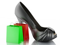 Women high heel shoes with Shopping bag 3d. Stock Image