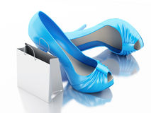 Women high heel shoes with Shopping bag 3d. 3d illustration. Women high heel shoes with Shopping bag. Consumerism Concept.  white background Royalty Free Stock Image