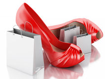 Women high heel shoes with Shopping bag 3d. Stock Photography