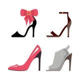 Women High-Heeled Shoes Isolated Illustrations Set Stock Image