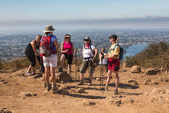 Women hikers summit view San Diego Royalty Free Stock Photo