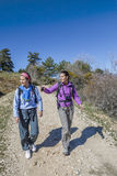 Women hiking at the mountain Stock Images