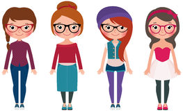Women hipster fashion set four girls in different clothes Royalty Free Stock Photos