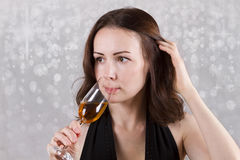 Women hold and Drinking Champagne christmas night Stock Photo