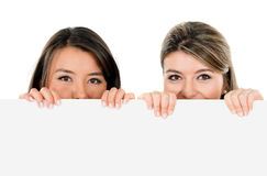 Women holding a banner Stock Images