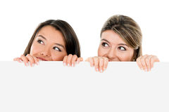 Women holding a banner Royalty Free Stock Image