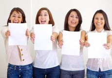 Women holding banners Royalty Free Stock Images