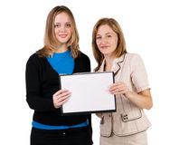 Women holding blank Stock Photo