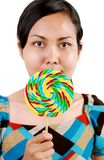 Women holding candy Stock Images