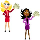 Women Holding Cash In Hand. An illustration featuring a pair of women holding 100 dollar bills in their hands Stock Photography