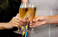 Women holding champagne glasses Royalty Free Stock Images