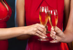 Women holding champagne glasses Royalty Free Stock Image
