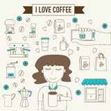 Women holding cup of coffee smell aroma feeling love banner line stock illustration