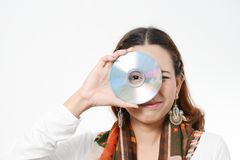 Women holding Data Disc Royalty Free Stock Photo