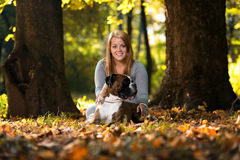 Women Holding Dog Royalty Free Stock Images